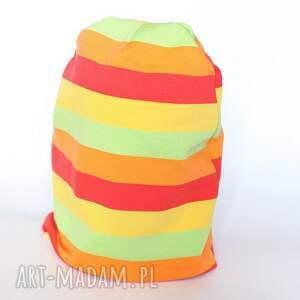 handmade czapka dresowa wiosenna tęczowa