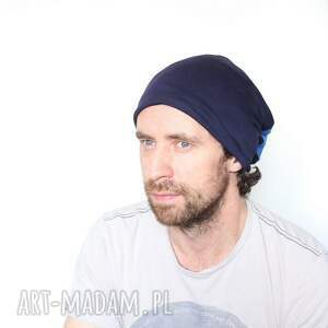 czapki dres czapka dresowa niebieska dzianinowa