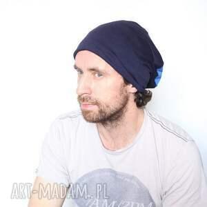 intrygujące czapki dzianina czapka dresowa niebieska dzianinowa