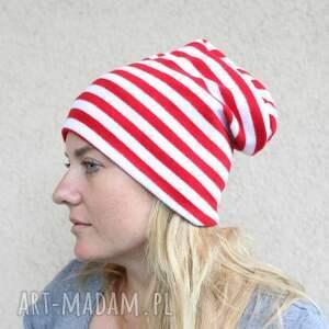niesztampowe czapki paski czapka dresowa biało-czerwona