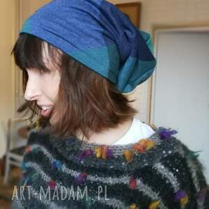czapki dresowa czapka dzianina kratka niebieska