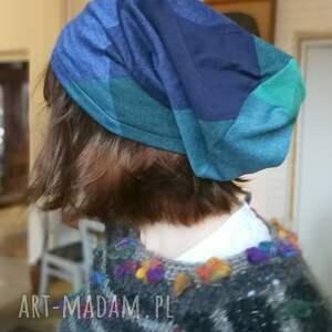 czapki czapka dzianina kratka niebieska