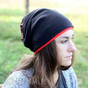 czapka dzianinowa czarna z bordo - bordowa dzianina