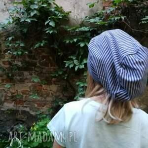 paski czapki czapka dzianinowa w szaro