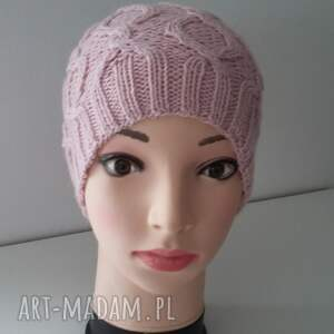 czapki: Czapka fantazyjna z dużym pomponem - warkocz czapa