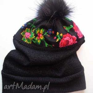 czarne folk czapka design aneta larysa
