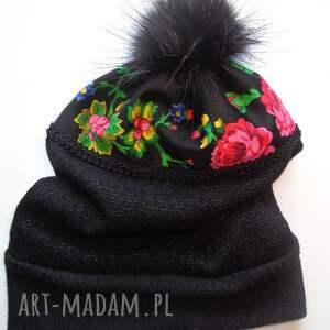 czarne czapki folk czapka design aneta larysa