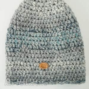 szare czapki na-szydełku czapka hand made no. 024 / beanie