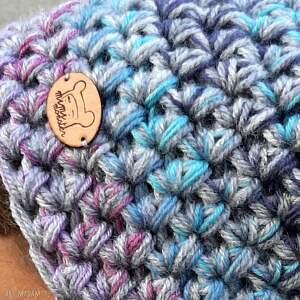 czapki: Czapka Hand Made No. 058 - beanie, szydło - wełniana szara czpka