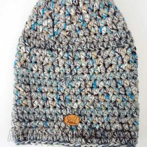 niebieskie czapki szydełko czapka hand made no. 023 / beanie