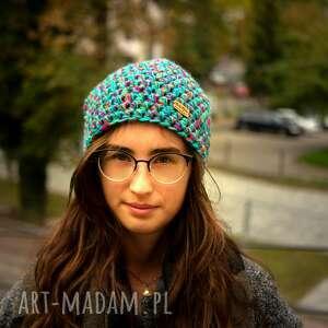 pomysł na świąteczny upominek turkusowe czapka hand made. 039 / beanie