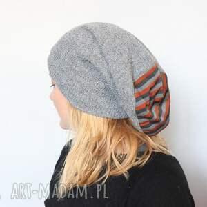 hand made czapki czapka handmade unisex szara paski