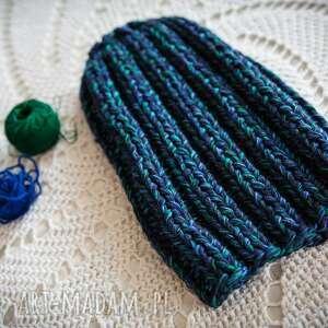 melanż czapki czapka handmade granatowy