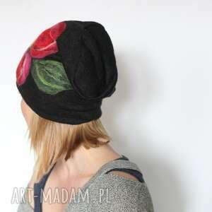 czapki merynosy czapka handmade wełniana z kwiatem