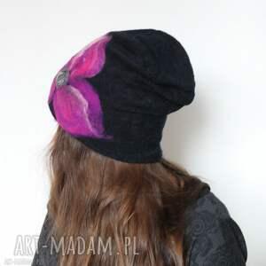 awangardowe czapki wełna czapka handmade wełniana