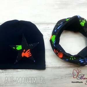 autorskie czapki czapka i komin dla chłopca łapki