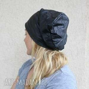 czapki: czapka jak ze skóry gnieciona - eco skóra