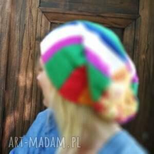 czapki patchwork czapka kolorowa patchworkowa duza