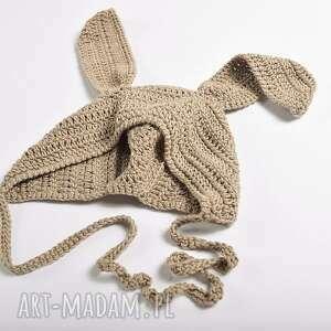 dziecięca czapki beżowe czapka królik bawełniana