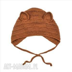 brązowe czapki bwełniana czapka lis bawełniana dziecięca