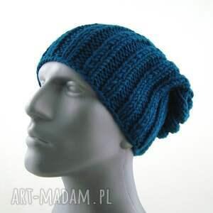 niebieskie czapki czapka męska ciemnoturkusowa