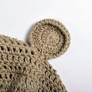czapka czapki szare miś bawełniana dziecięca