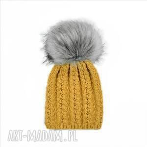 czapki czapka musztarda merynos damska