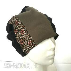 czapki etno czapka patchwork smerfetka dresowa