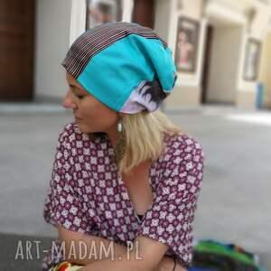 ręcznie robione czapki czapka patchworkowa kolorowa damska
