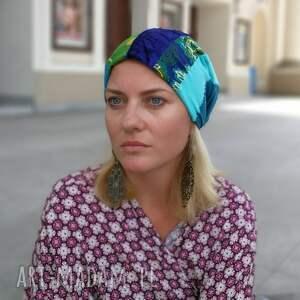 ręczne wykonanie czapki czapka patchworkowa kolorowa damska