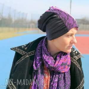 etno czapki czapka patchworkowa fioletowa