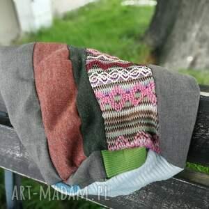 Ruda Klara czapki: czapka patchworkowa kolorowa damska przejściówka boho