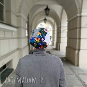 zimowa czapki czapka patchworkowa boho tkanina wełna