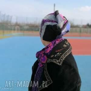 czapki etno czapka patchworkowa fioletowa