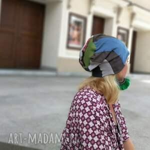 czapki: czapka patchworkowa kolorowa damska przejściówka boho folk