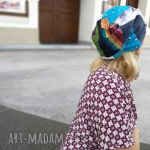 Ruda Klara czapki: czapka patchworkowa kolorowa damska przejściówka boho folk