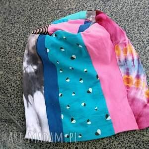 ręcznie robione etno czapka patchworkowa kolorowa damska