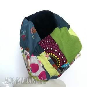 czapki: czapka patchworkowa damska uniwersalna - hand made kolorowa