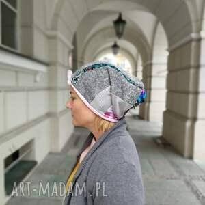 czapki zimowa czapka patchworkowa boho tkanina