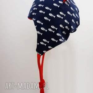 czerwone czapki czapka-bawełniana czapka pilotka wiązana -