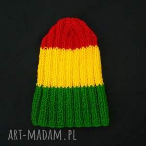 żółte czapki rasta uniwersalna czapka, wykonana ręcznie