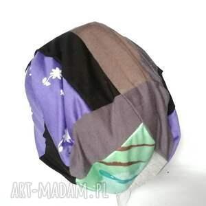 handmade czapki czapka smerfetka dzianina patchwork
