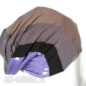 dzianina czapki czapka smerfetka patchwork