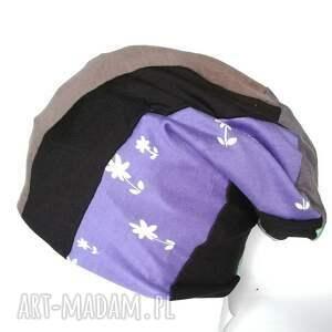 handmade czapki dzianina czapka smerfetka patchwork