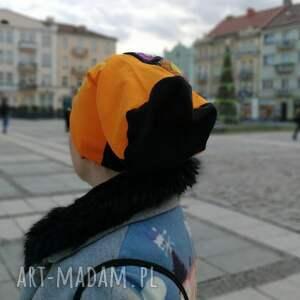 awangardowe czapki dzianina czapka smerfetka patchwork