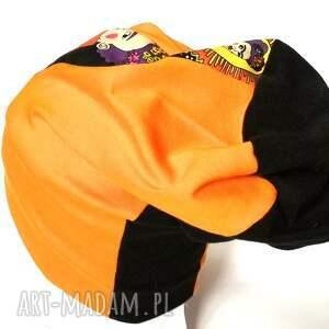 czapki kahlo czapka smerfetka dzianina patchwork