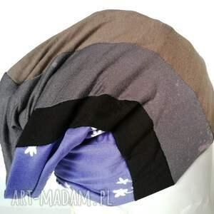 czapki dzianina czapka smerfetka patchwork