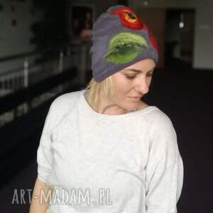 niesztampowe czapki czapka szara wełniana zimowa
