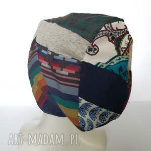 czapki czapka szyta patchworkowa kolorowa na