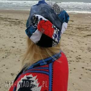 niepowtarzalne czapki czapka turban wywinięta kolorowa